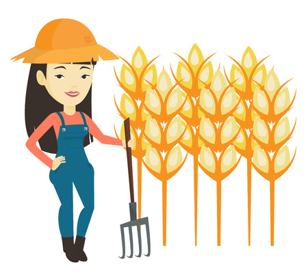 raking: Farmer with pitchfork vector illustration.