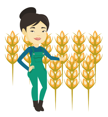 Excited asian farmer standing on the background of wheat field. Smiling young farmer working in wheat field. Farmer checking wheat harvest. Vector flat design illustration isolated on white background Illustration
