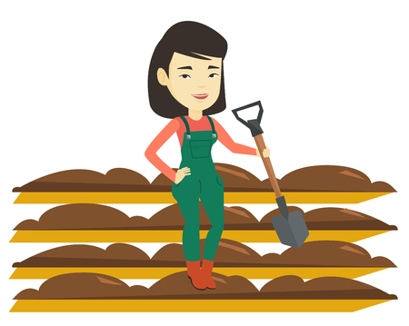 Asian farmer standing with shovel on the background of plowed field. Woman working in field with shovel. Woman plowing field with a shovel. Vector flat design illustration isolated on white background Çizim