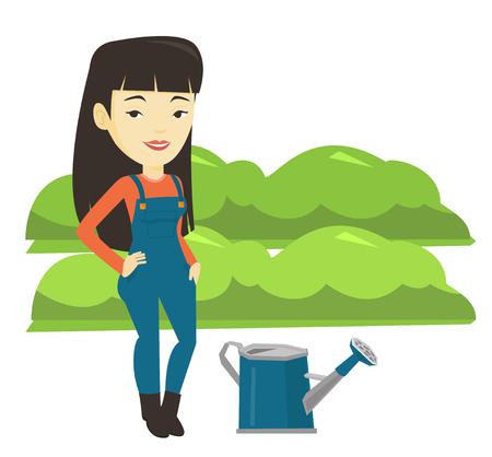 緑の茂みで農業分野のバック グラウンドの水まき缶の近くに立って若いアジアの農民。女性は庭の植物に水をまきます。ベクトル フラットなデザイ