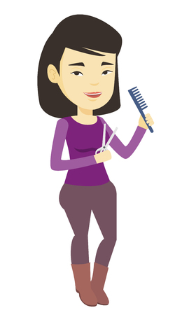 Professional asian female hair stylist ready to do a haircut. Full length of young female hair stylist holding comb and scissors in hands. Vector flat design illustration isolated on white background.