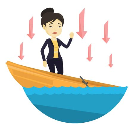 leaking: Business woman standing in sinking boat. Illustration