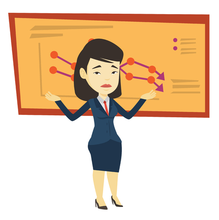 Bankrupt business woman vector illustration.