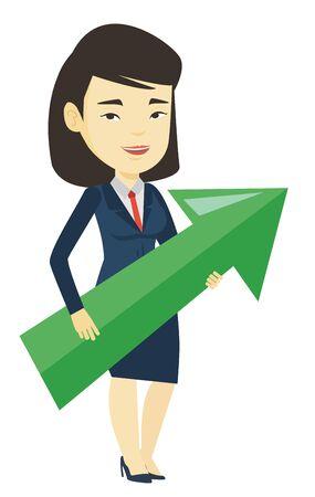 Businesswoman aiming at business growth. Illusztráció