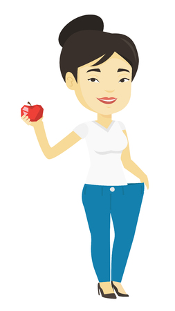 young asian girl: Slim woman in pants showing results of her diet. Illustration