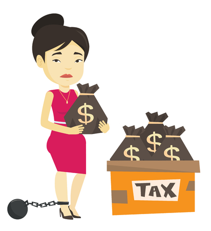 Chained taxpayer with bags full of taxes. Illustration