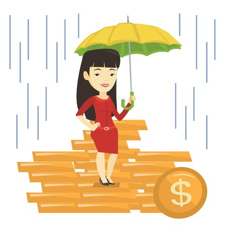 cartoon umbrella: Business woman insurance agent with umbrella. Illustration