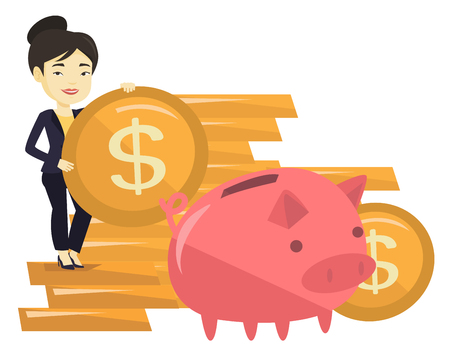 cash money: Young asian business woman saving money in piggy bank. Successful business woman putting money in big piggy bank. Concept of saving money. Vector flat design illustration isolated on white background.