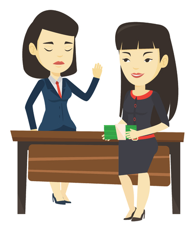 Asian business woman giving a bribe. Uncorrupted business woman refusing to take a bribe. Woman rejecting to take bribe. Bribery concept. Vector flat design illustration isolated on white background.