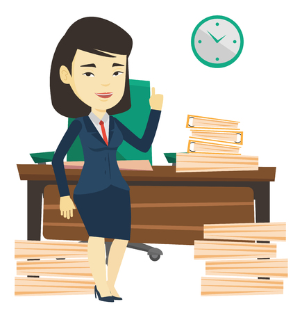 Asian business woman standing in office and pointing at time on clock. Business woman working against time. Concept of time womanagement. Vector flat design illustration isolated on white background. Illustration