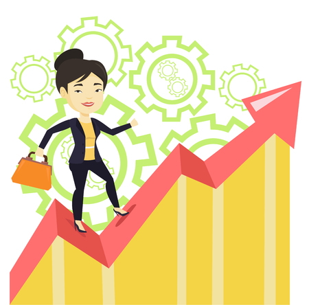 Asian successful business woman standing on profit chart. Young business woman running along the profit chart. Business profit concept. Vector flat design illustration isolated on white background.