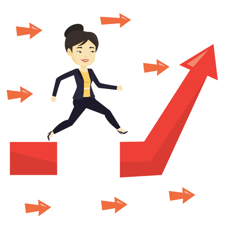 Business woman jumping over gap on arrow going up. Stock Illustratie