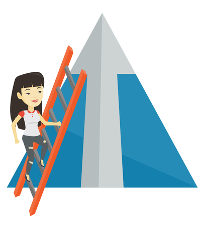 achievement concept: Business woman climbing on mountain.