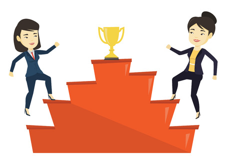 Women competing for the business award. Illustration