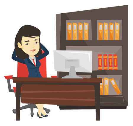 Zufriedene Geschäftsfrau Entspannung im Büro. Standard-Bild - 76266019
