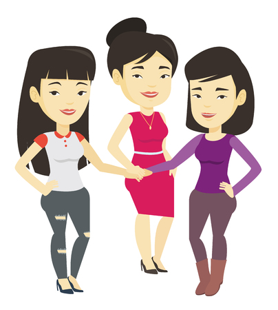 Group of business women joining hands.