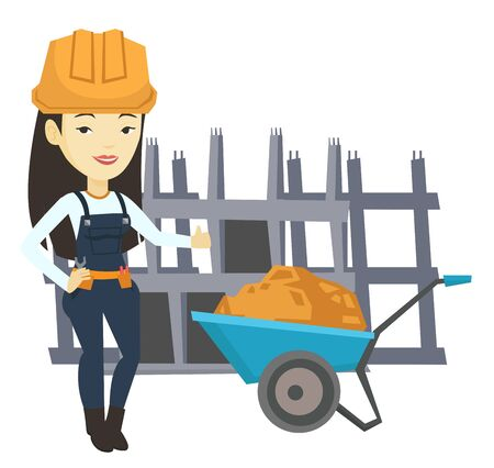 Builder giving thumb up vector illustration. Illustration
