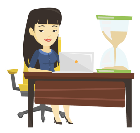 Asian business woman working in office.
