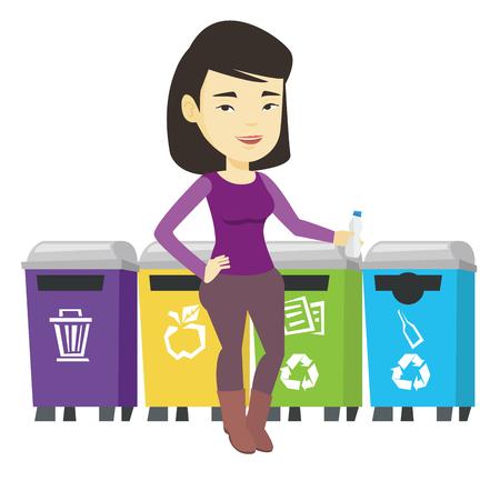 Woman throwing away plastic bottle.