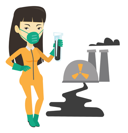 contamination: Woman in radiation protective suit with test tube. Illustration