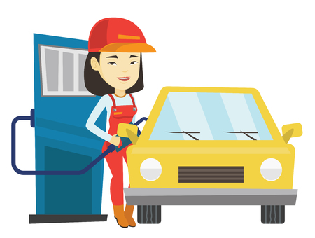 Worker filling up fuel into car at the gas station Illustration