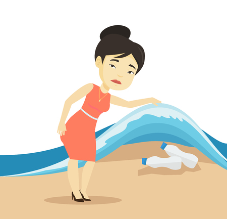 Woman showing plastic bottles under sea wave. Illustration