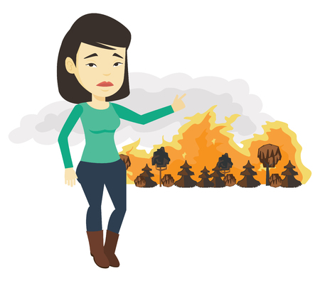 Woman standing on the background of wildfire. Illustration