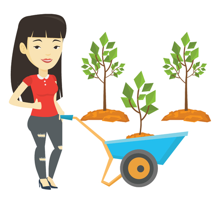 ecologically: Woman pushing wheelbarrow with plant. Illustration
