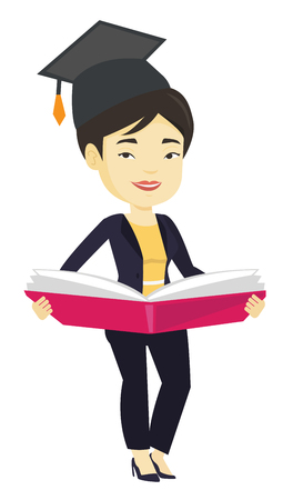 achievement concept: Graduate with book in hands vector illustration. Illustration