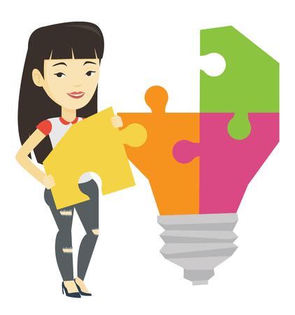 Student with idea lightbulb vector illustration.