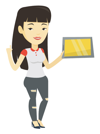 Student using tablet computer vector illustration.