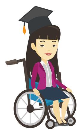 Graduate sitting in wheelchair vector illustration