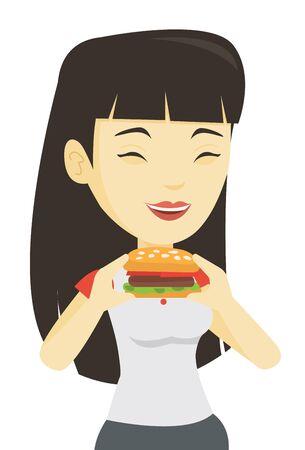 harmful: Woman eating hamburger vector illustration. Illustration