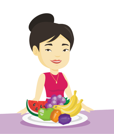 Woman with fresh fruits vector illustration. Illustration