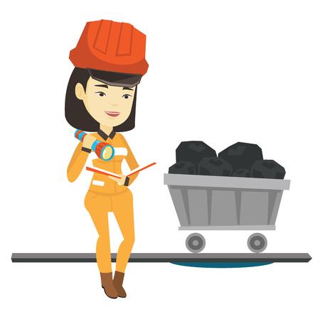 Miner het controleren van documenten vector illustratie. Stock Illustratie