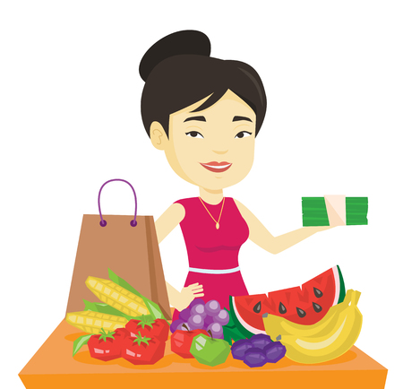 Woman standing at the table with shopping bag. Illustration