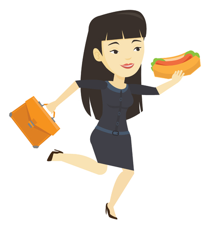 Business woman eating hot dog vector illustration.