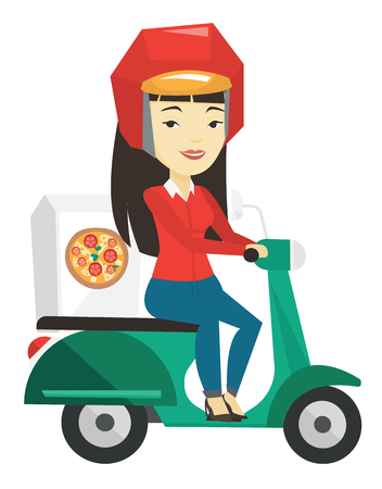 Woman delivering pizza on scooter. Illustration