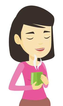 hot woman: Woman enjoying cup of coffee vector illustration