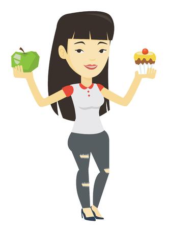Woman choosing between apple and cupcake. Illustration