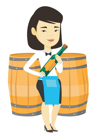 Waitress holding bottle of alcohol.