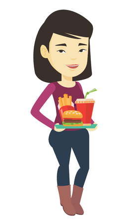 Woman holding tray full of fast food. Illustration