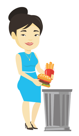 Woman throwing junk food vector illustration.