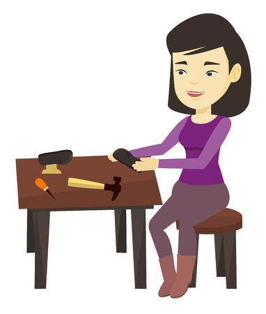 Shoemaker making handmade shoes in workshop. Illustration