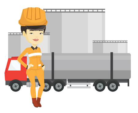 Worker on background of fuel truck and oil plant.