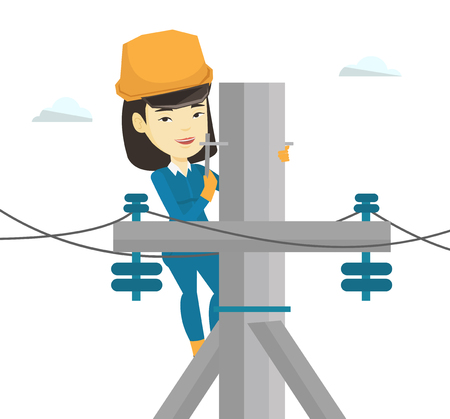 electricity post: Electrician working on electric power pole.