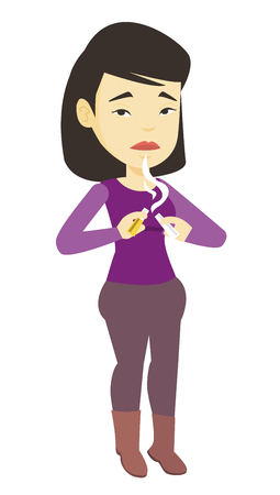 Young woman quitting smoking vector illustration.
