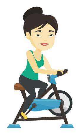 Young woman riding stationary bicycle. Stock Illustratie