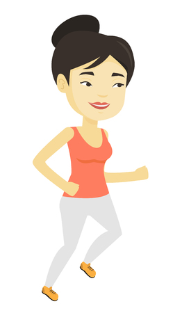 Young woman running vector illustration.