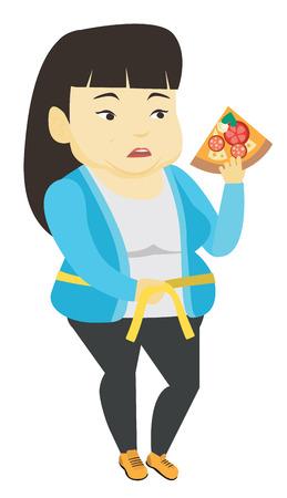 Woman measuring waist vector illustration. 일러스트